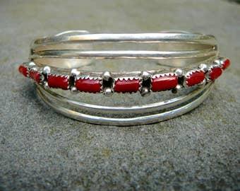 SAVE 50 DOLLARS:Native American Coral Bracelet,Vintage Cuff Bracelet,Red Coral Bracelet,Coral Jewelry,Native American Jewelry,Coral Cuff