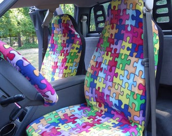 1 Set Of Puzzle Print Seat Covers and Steering Wheel Cover Custom Made.
