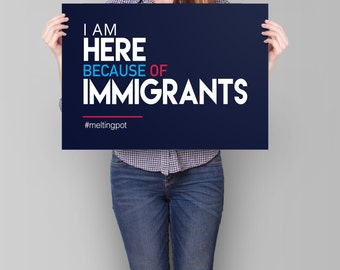 Immigration Sign PRINTABLE | immigrant strike sign, immigration ban protest sign, anti trump poster, immigration march we are all immigrants