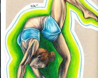 Yoga Green Aura, an original colored pencil drawing by Ryan Alex