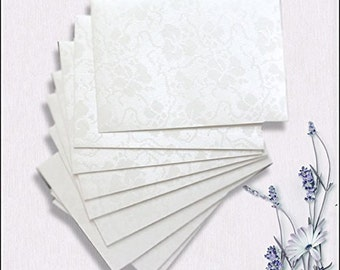 20 Mini Envelopes Pearlescent Dandy White Broderie Vintage Floral Embossed Size 95mm x 133mm