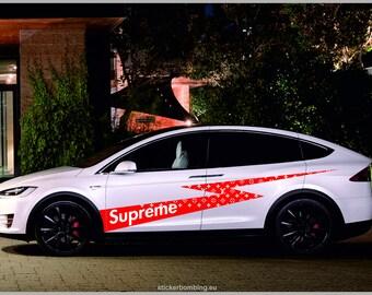 "Tesla Model X vinyl graphics and decals kits  ""Supreme Louis Vuitton"""