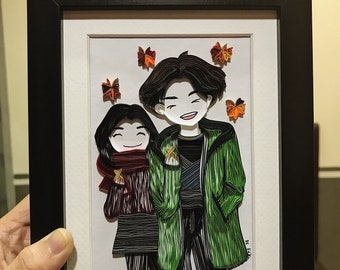 Goblin and Bride Chibi Paper quilling
