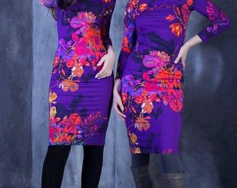 Abstract Print Dress, Purple Dress, Women Dress, Pencil Dress, Elegant Dress, Winter Dress, Midi Dress, Romantic Dress, Flower Dress