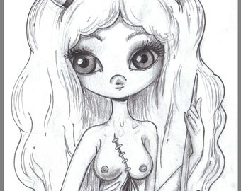 Day #260 - Stitches - Horny girl -  original sketch a day drawing! 5.5 x 8.5