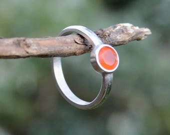 Natural Carnelian & Sterling Silver Ring | Sacral (2nd) Chakra Ring | Handmade to Order