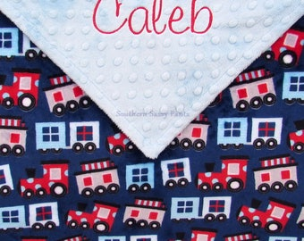 Personalized Boy Blanket, Baby Boy Stroller Blanket, Trains Minky Blanket, Navy Blue and Red Train, Shower Gifts, Custom Name Blanket 30x40