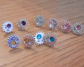 Steampunk Cog Stud Earrings