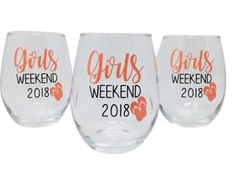 Girls Weekend, Bachelorette Weekend, Custom Wine Glasses