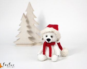 Plush polar bear Christmas gift Stuffed polar bear Christmas teddy bear Winter holiday decor Christmas party Stocking stuffer Stuffed animal