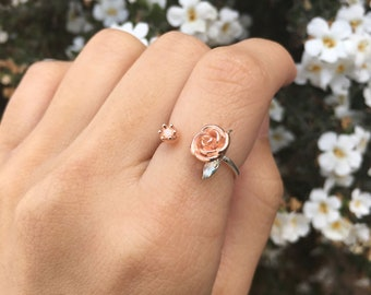 sterling silver rose gold flower ring, rose ring, rose gold rose ring, pretty ring, romantic gifts, gifts for girlfriend, rose jewelry