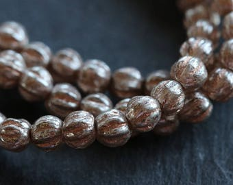 SILVERED PEACH MELONS .. 50 Picasso Czech Melon Beads 4mm (6005-st)