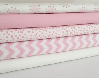 Pink and cream fabric Collection - Fat Quarter Bundle - New