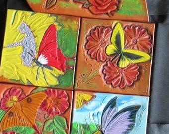 Butterflies art, wall art, home decor, Floral and butterflies leather art