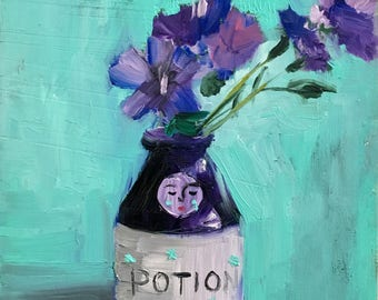 Bottle with Purple Flowers