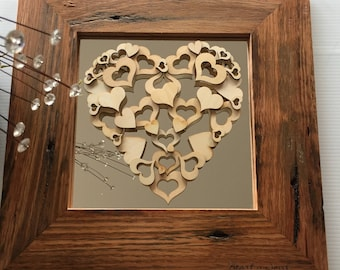 Recycled Australian 41cm square wooden frame-wooden hearts-mirror-housewarming-wedding-living room-hall entry-3D-wood laser etching-birthday