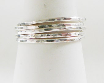 1 Sterling Silver Hammered Ring Midi Nuckle stacking skinnies thin skinny stacker rings