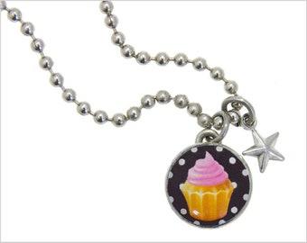kid necklace, cupcake charm, kids jewelry,  kids bracelet, birthday charm, #50, photo jewelry, interchangeable, kids accessories