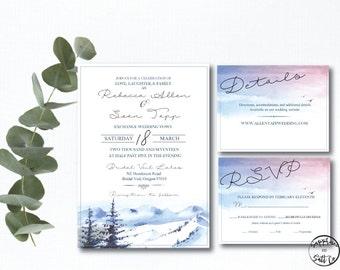 Wedding Invitation - Mountain Wedding Invitation - Mtn Wedding Invitation - Printable Wedding Invitation Kit - Digital Download - Invitation