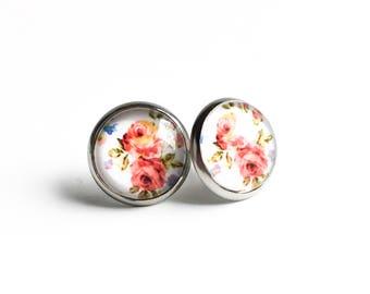 Clous d'oreilles à fleurs, Boucles d'oreilles à clous fleuries, Boucles d'oreilles blanches, Acier inoxydable, Boucles d'oreilles roses