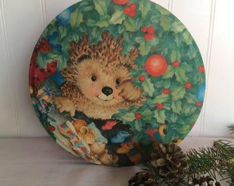 Little Hedgehog/Sleeping Mice Christmas Tin, Vintage Christmas Cookie Tin, Holiday Tin