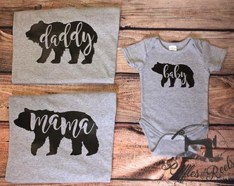 Family bear shirts for mommy daddy and baby