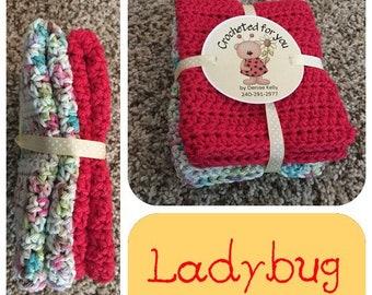 Crocheted Dishcloths-Ladybug