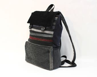 Black textile backpack, dark grey, upcycled handmade backpack with a three pocket on the front