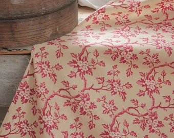 1830s French Pink Floral curtain Antique drape muted neutral and red tones dogwood