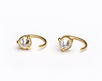 Round White Zirconia Hug Hoops, Sterling Silver Gold Plated, Hug Hoop Earrings, Open Hoops, Minimal Gift for Mom, Lunaijewelry, EAR031WCZ