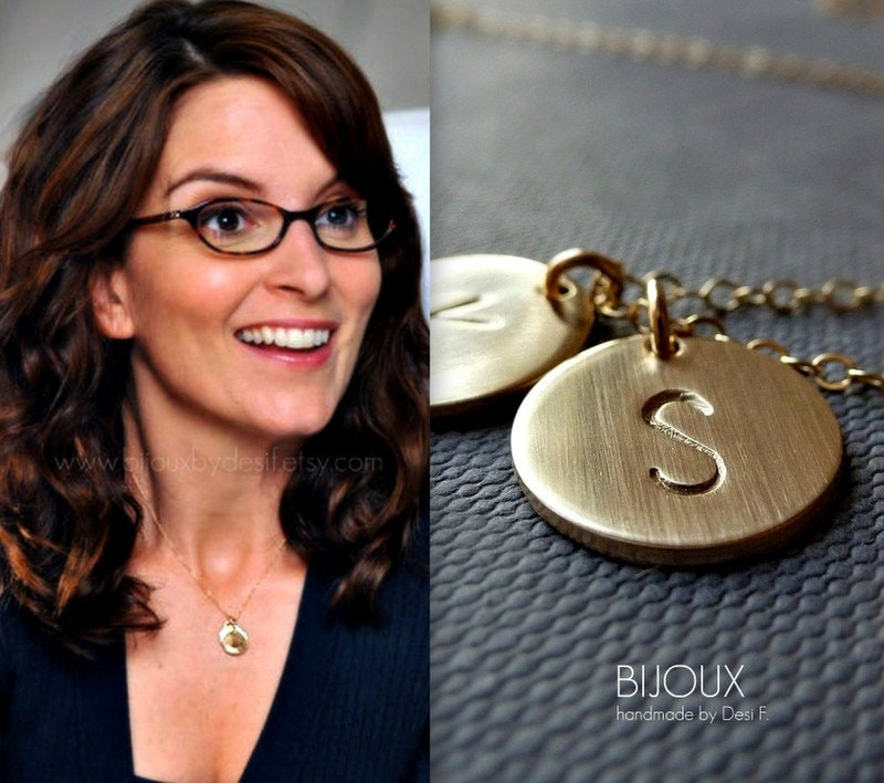 Two discs initial necklace celebrity style 14k goldfilled zoom aloadofball Image collections