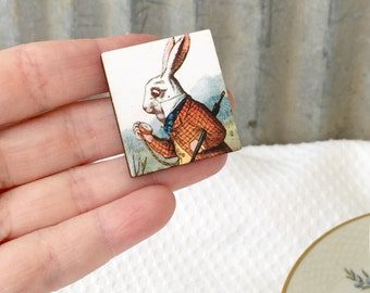 White Rabbit Brooch, Alice in Wonderland Jewelry, Wooden pin, Stocking Stuffer, Rabbit pin, Tea Party Pin, Mad TEa Party, Birthday Gift
