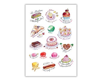French bakery poster, Cute kids room decor, Food illustration print, Kitchen wall art print, French country decor, France, Wall hanging