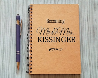 Couples Journal, Becoming Mr & Mrs, - 5 x 7 Journal, Journal, Personalized Notebook, Sketchbook, Scrapbook