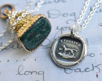 dog wax seal necklace … dog carrying a basket - fidelity, loyalty, affection - silver antique wax seal jewelry - gift for the dog lover