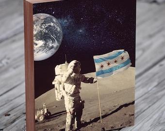 Chicago Flag Wall Art - Chicago Flag Art - Chicago Wall Art - Chicago Moon Man Astronaut Flag Landing