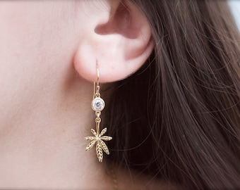 cannabis earrings with cz charm - marijuana earrings - pot earrings - dangle  leaf earrings - weed earrings