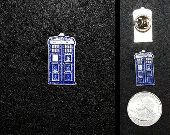 Hand Cast Tardis Police Box 1 inch Lapel Pin or Magnet