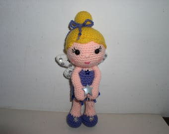 small blue kind fairy amigurumi