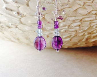 Amethyst and aquamarine earrings/ gemstone earrings/ amethyst earrings/ aquamarine earrings/ delicate gemstone earrings