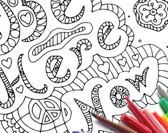 Zen Coloring page download printable coloring sheet Be Here Now adult coloring book printable print from home myself meditation art activity