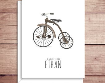 Tricycle Note Card - Tricycle Thank You - Folded Thank You Note - Folded Note Cards - Tricycle Stationery