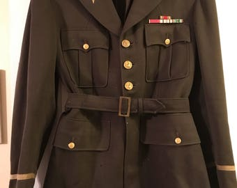 WWII US Army Captain Medical Military Officer belted jacket 1942
