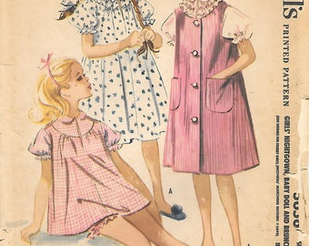 Girls 12-McCalls 5656 1960s Teens Ruffled Baby Doll Pajamas Nightgown and Brunch Coat Vintage Sewing Pattern Robe