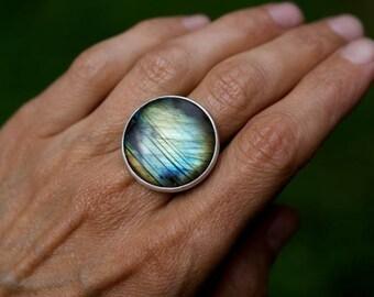 Labradorite Ring, Labradorite Jewelry, Blue Green Labradorite, Rustic Ring, Forest Ring, Ring Size 7