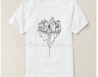 Sky city tshirt unisex shirt original artwork 100 percent cotton t-shirt womens mens ladies Small up to 3x modern art buildings skyscape