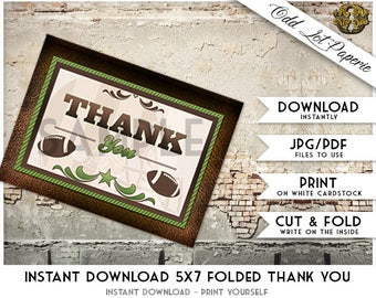 Printable Thank You Card, Football Thank You Cards, Football Card Instant Download, DIY Printable, Thank You Card Sports Printable Greeting