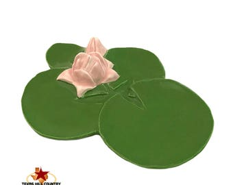 Ceramic Green Water Lily Personal Size Tea Bag Holder Small Teaspoon Rest for Kitchen Counters and Coffee Stirring Spoons or Desk Catch All