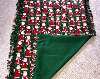 """Santa Fleece blanket 52"""" x 94"""" for your next movie night washable and reversible"""
