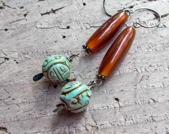 Carved Turquoise Colored Magnesite Stones and Horn Earrings    Zen   Earthy   Organic   Natural Stone Earrings   Earrings Under 20   Wedding